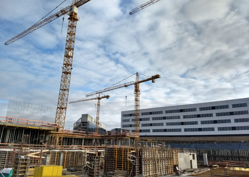 Office buildings under construction in Kraków (December 2017)